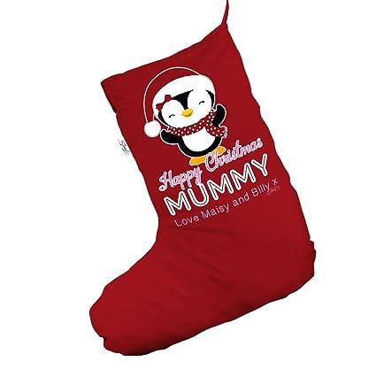 personalised mummy penguin jumbo red christmas stocking