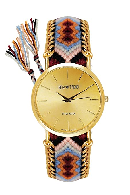 Playa Estilo Mujeres Reloj De Pulsera Marrón Dorado Reloj Números Arábigos Blogger reloj mujer hippie Boho