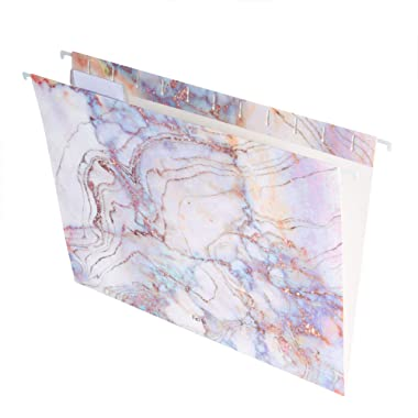 Hanging File Folders with 1/5-Cut Adjustable Tab Stylish Designer Recycled Extra Durable 12pcs/Pack Letter Size, Marbling