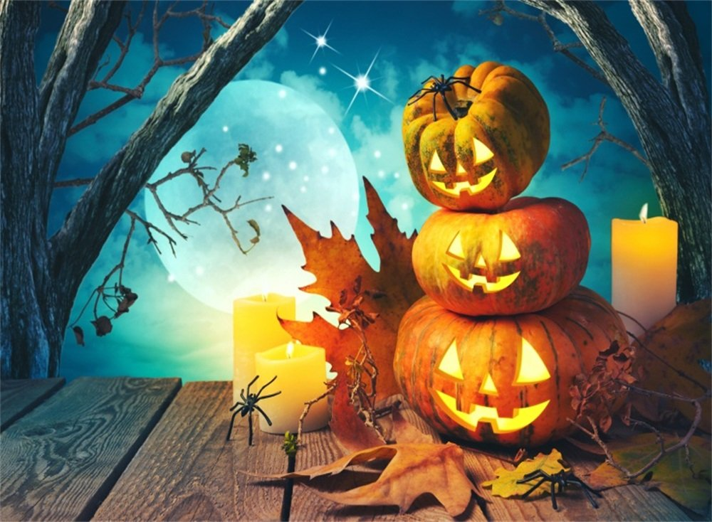 8X10FT-Halloween Scary Forest Photography Backdrops Lighting Pumpkin Studio Photo Background