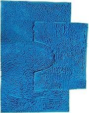 Bath Mat Set 2 Piece Non Slip Rubber Pedestal and Bath Mat Set Toilet Loop Bathroom Rug New (Turquoise)