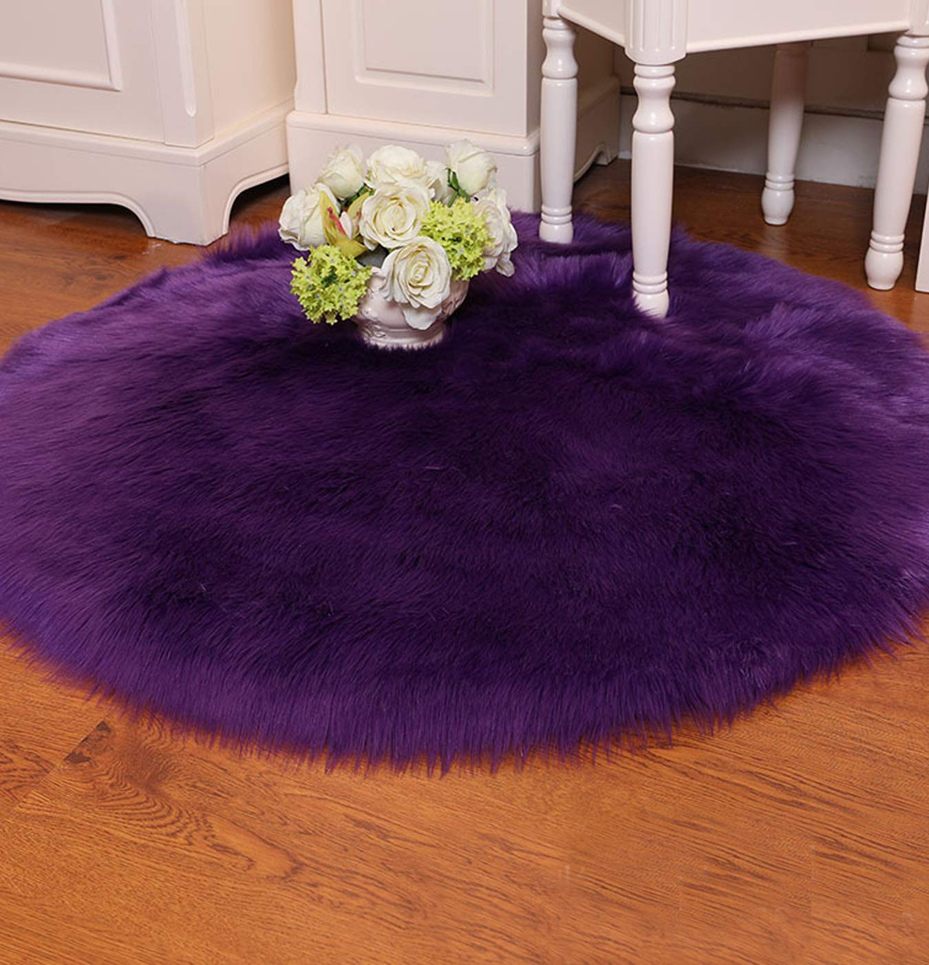 Round Fur Rug Home Decor Faux Fur Sheepskin Rugs Kids Fluffy Carpet for Living Bedroom Sofa Diameter 10 Feet,Purple
