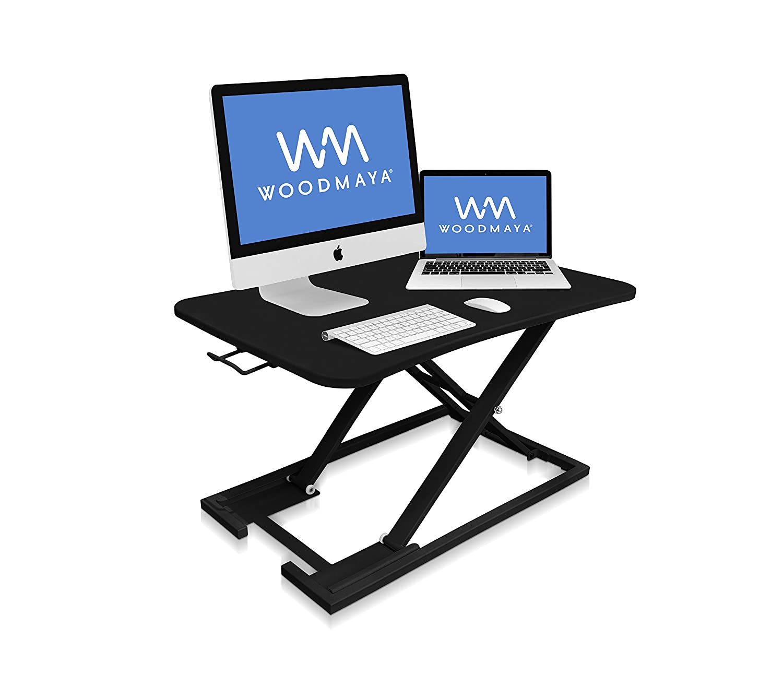 WOODMAYA® Height Adjustable Standing Desk with Premium Air Pump Lift - Desk Stand Raiser - Instantly Convert to a Sit to Stand Desk 29x19(Black) WMDKR-0005-W