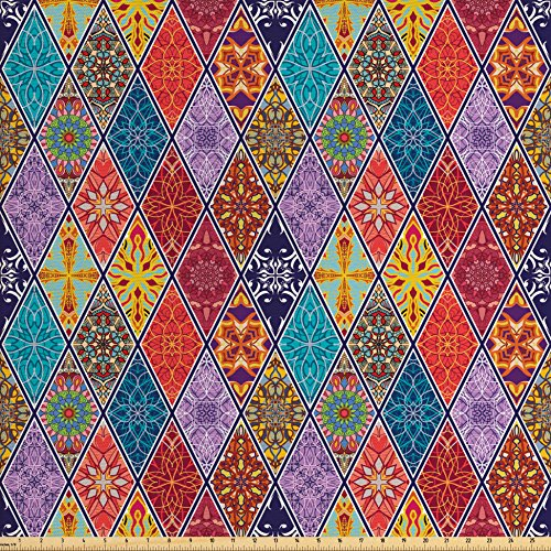 Ambesonne Farmhouse Decor Fabric by the Yard, Mega Geometric Diagonal Pieced Mosaic Tile with Authentic Arabesque Lines Decor, Decorative Fabric for Upholstery and Home Accents, Multi