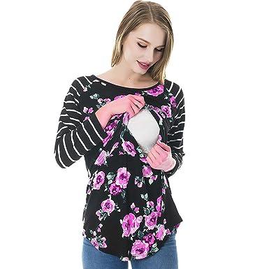Doble Capa Ropa Embarazadas Oto/ño Invierno Basica Pullover Tops en Cuello Redondo Camisetas de Primavera Malloom Blusas Manga Largas de Mujer Lactancia