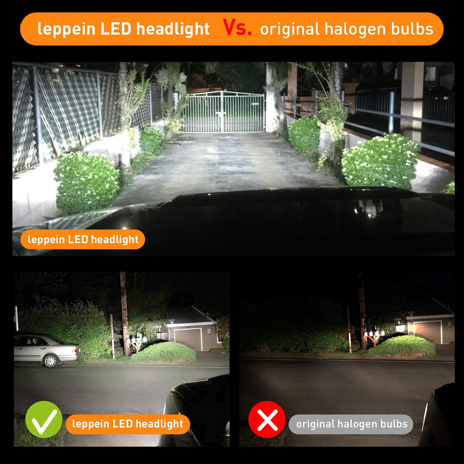 H11//H8//H9 LED Headlight Bulbs leppein S Series Low Beam//Fog Light 16xZES 2nd Chips 6500K 8000LM Cool White Halogen Replacement-1 Pair