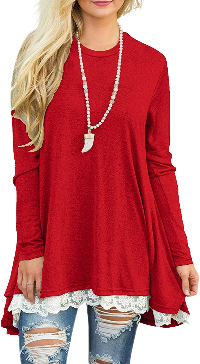 Sanifer Women Lace Long Sleeve Tunic Top Blouse