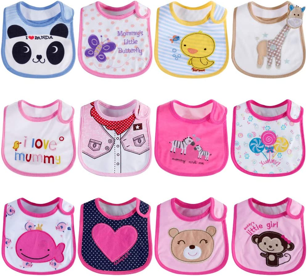 Lictin 12pcs baberos de bebé para niñas Baberos impermeables de algodón ajuste bebé baberos de bebé Impermeable 3-24 meses (Rosa)