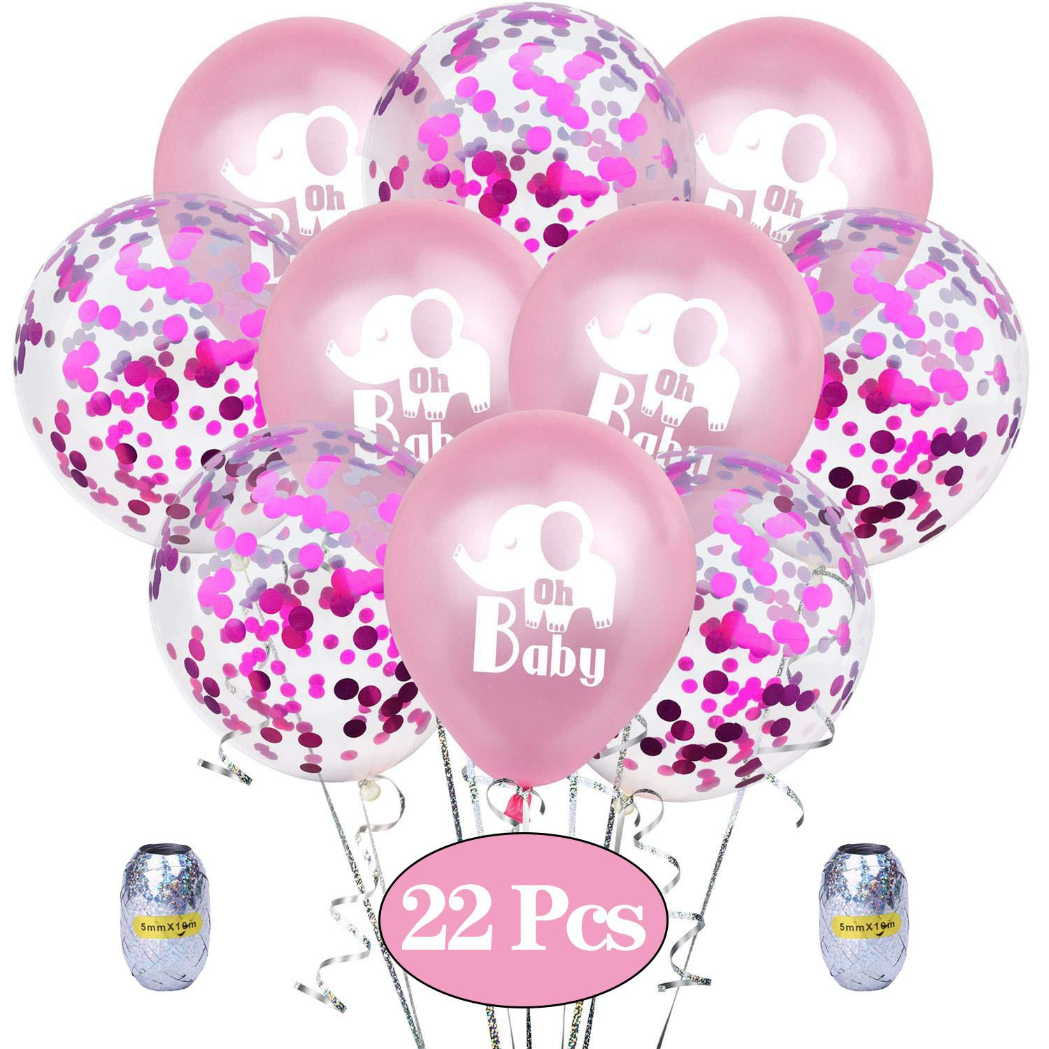 10 Pack 12 Inch Elephant Latex Balloons and 10 Pack Confetti Balloons For Elephant Theme Birthday Party Favors Pink Elephant Balloons For Girls Baby Shower//Girls Birthday Decorations