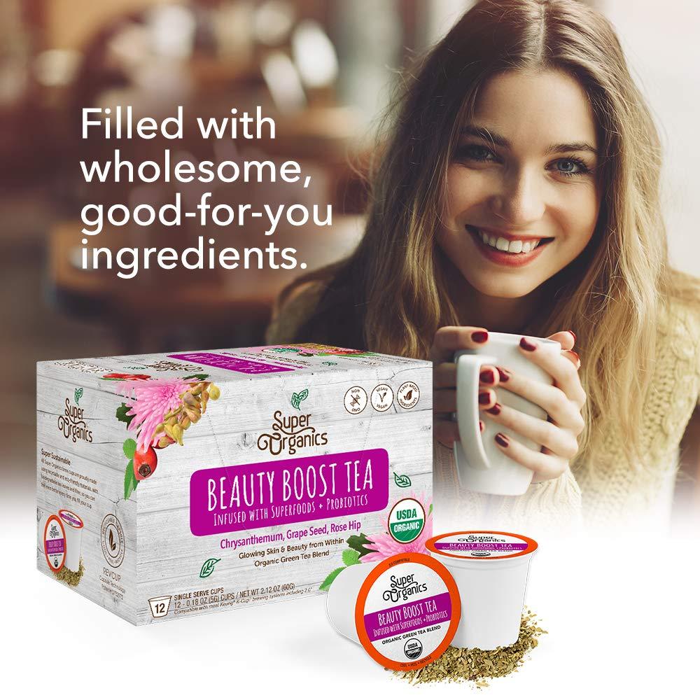 Super Organics Beauty Boost Green Tea Pods With Superfoods & Probiotics | Keurig K-Cup Compatible | Beauty Tea, Skin Care Tea | USDA Certified Organic, Vegan, Non-GMO Natural & Delicious Tea, 72ct by Super Organics (Image #6)