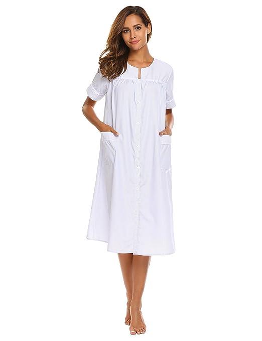 Langle Women's Plus Size Striped Sleepwear Short Sleeve Loose House Dress Nightgown S-XXL