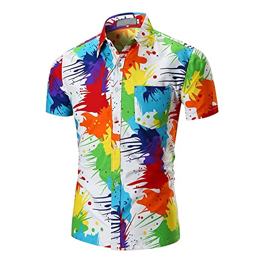 c2eaa23f22d0 Lelili Men Summer Fashion Tee Shirt Colorful Tie Dye Lapel Button Down  Short Sleeve Slim Fit Shirt Casual Blouse Tops at Amazon Men s Clothing  store