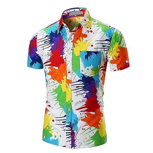 131e99257842 Lelili Men Summer Fashion Tee Shirt Colorful Tie Dye Lapel Button Down  Short Sleeve Slim Fit Shirt Casual Blouse Tops at Amazon Men s Clothing  store