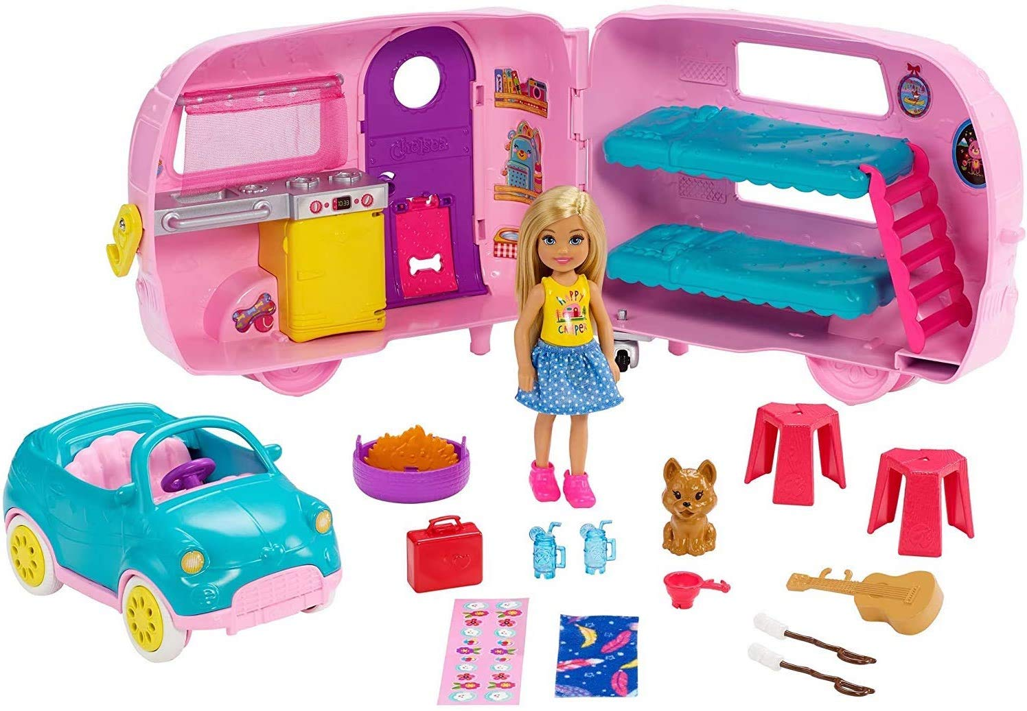 ​Barbie Club Chelsea Camper Playset with Chelsea Doll Puppy Car Camper Firepit Guitar and 10 Accessories Gift for 3 to 7 Year Olds