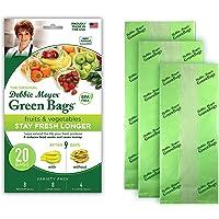 Debbie Meyer GreenBags Freshness-Preserving Food/Flower Storage Bags, Green (Various Sizes, 20-Pack) (5127799)
