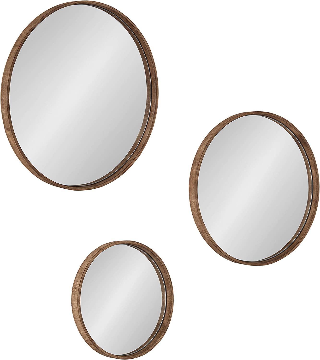 Kate and Laurel Traviston Round Deocrative Wood Wall Mirrors, 3-Piece Set, Natural Brown