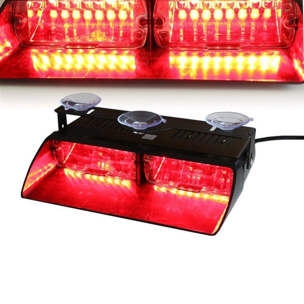 Viktion 12V 16 LEDs Feux de Pénétration Lumière Stroboscopique Eclairage clignotant avec 18 modes Fixation à ventouse pour Voiture camion véhicule SUV Lampe pour Avertissement Urgence Secours Travaux (Jaune)