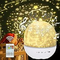 URAQT Sterrenhemel Projector, LED Projector Lamp Kinderen, Ocean Wave Projector Nachtlampje, Muziek Nachtlampje Lamp…