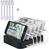 5-Port USB Charging Station, Topoint Multi Device USB Charging Docking Station HUB with 2 Lightning Charging Cords and 3 Micro USB Charging Cords for iPhones/Smart Phones/Tablets