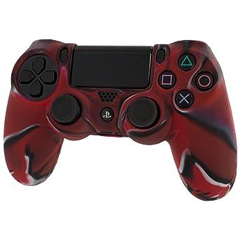 Assecure - Funda para mando de PS4 (goma, empuñadura estriada), diseño de camuflaje, color negro y rojo