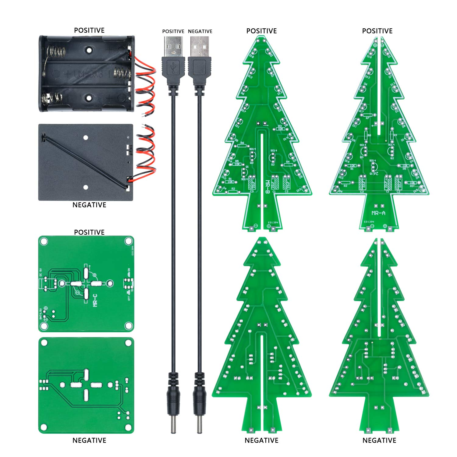 3D Christmas Tree LED Flashing Light DIY Kit 7 Color Flash Circuit