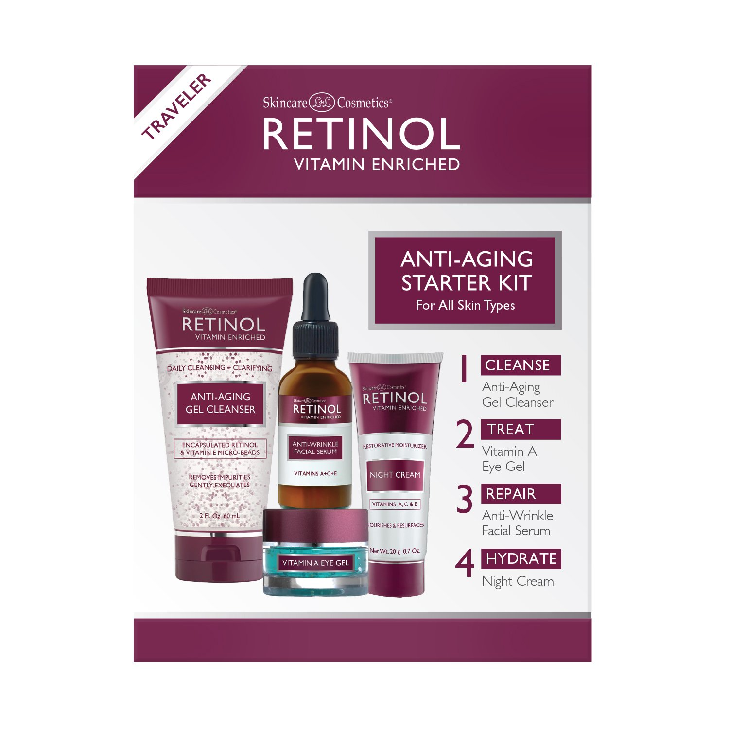 Retinol Anti-Aging Starter Kit - The Original Retinol For a Younger Look - [4] Conveniently Sized Products Perfect For Travel or First Time Try - Cleanse, Treat, Repair & Hydrate On-The-Go