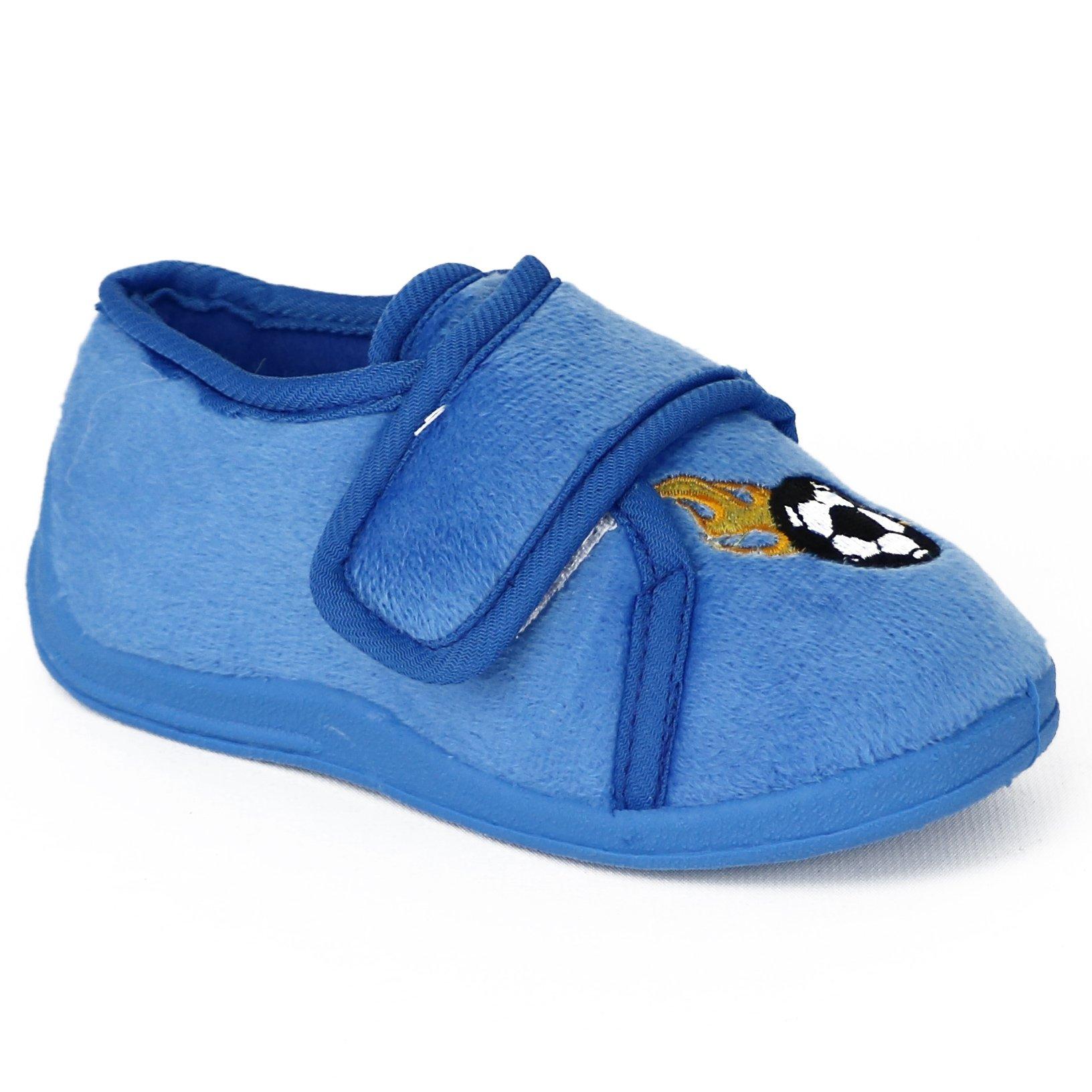 Zac & Evan Little Boys' Plush Sports Slippers (11-12 M US Toddler, Blue Soccer)