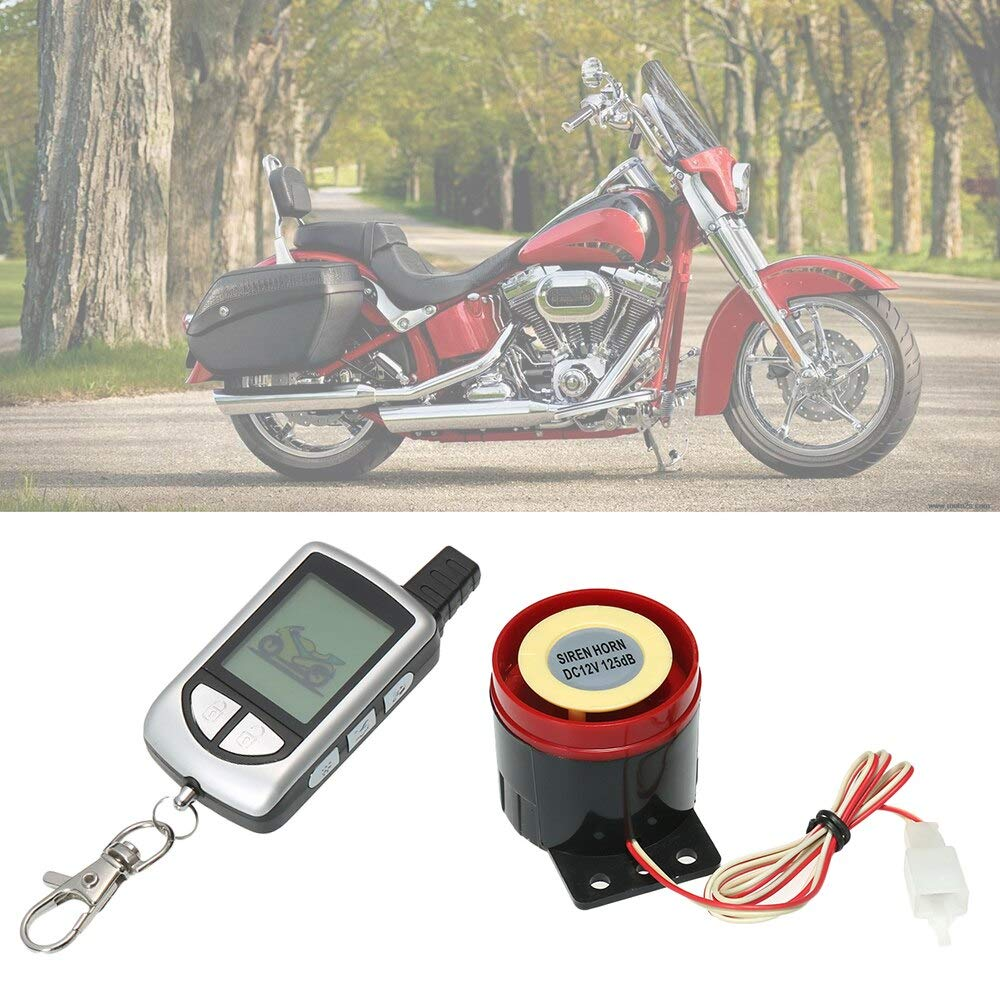 Victoria-ACX - 2 Way Motorcycle Alarm System with Remote Engine Start Remote Transmitter Shock Sensor Anti-Theft System LCD Display