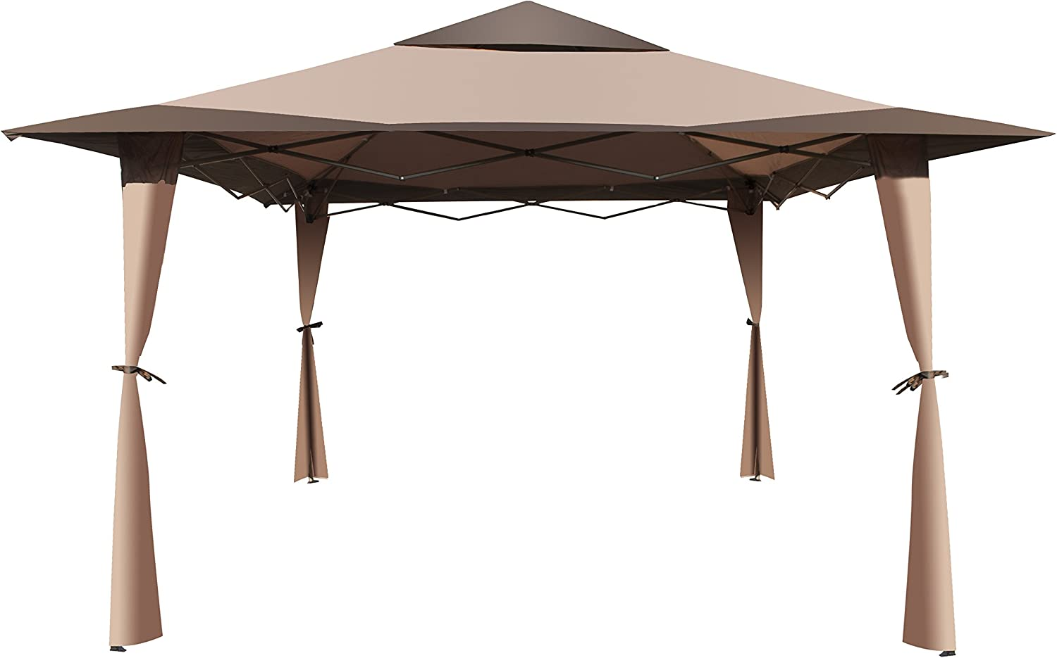 ALEKO gzb004 doble techo 10 x 10 pies Poliéster Patio Gazebo Picnic parasol toldo, color marrón: Amazon.es: Jardín