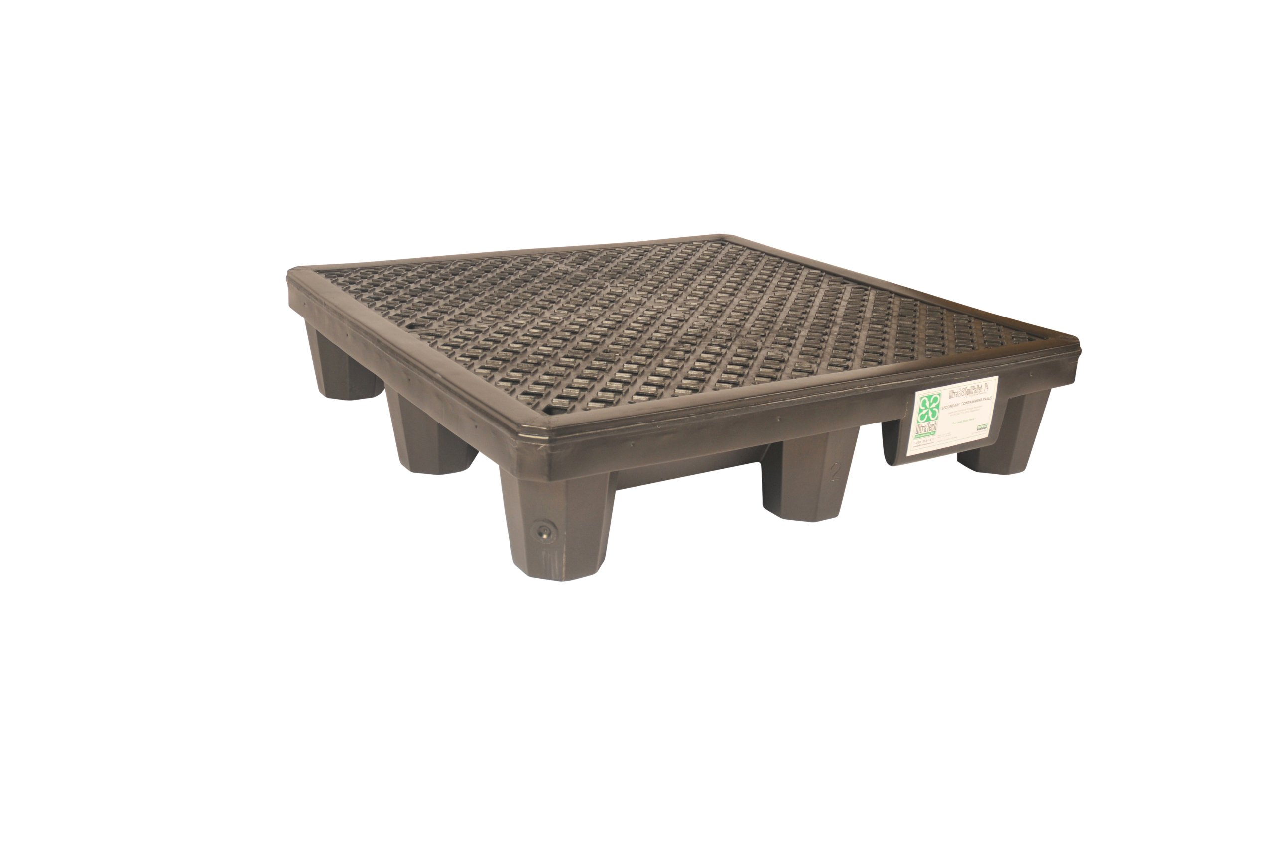 UltraTech 1112 Recycled Polyethylene P4 4-Drum Ultra-Spill Pallet, 3000 lbs Capacity, 5 Year Warranty, Black