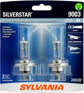 SYLVANIA - 9003 SilverStar - High Performance Halogen Headlight Bulb, High Beam, Low Beam and Fog Replacement Bulb, Brighter Downroad with Whiter Light (Contains 2 Bulbs)