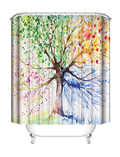 tree of life fabric colorful shower curtain waterproof bathroom fabric shower curtain with 12 ring - Colorful Shower Curtains
