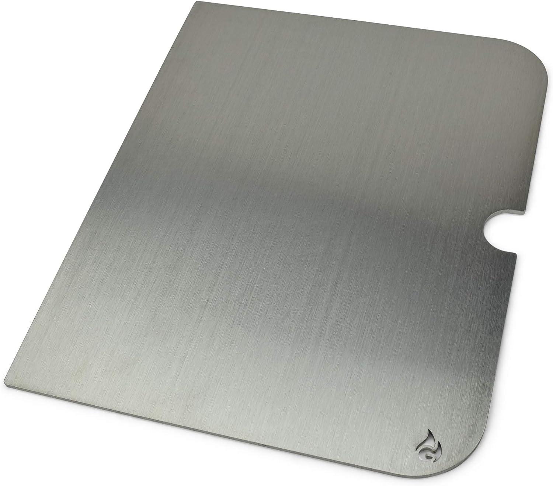 Grillrost.com Das Original Placa de Parrilla de Acero Inoxidable y extensión del Espacio de cocción Adecuada para Go Anywhere, Größe:Grillplatte (1 Hälfte)