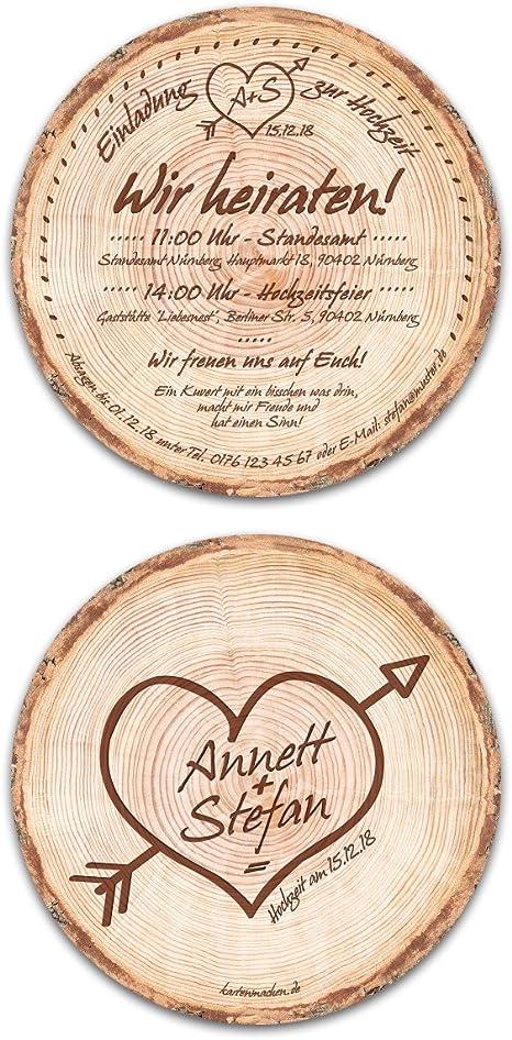 Runde Baumscheiben Einladungskarten in Holzoptik