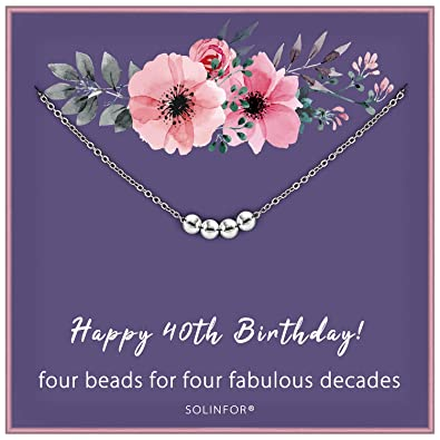 40th Birthday Presents For Her >> Solinfor 40th Birthday Gifts For Women 925 Sterling Silver Necklace Four Bead For Her 4 Decade 40 Years Old Jewelry Gift Idea
