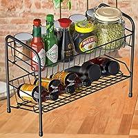 Spice Racks Organizer for Countertop, 2 Tier Kitchen Counter Seasoning Storage Shelf with Shelf Liner, Bathroom Standing…