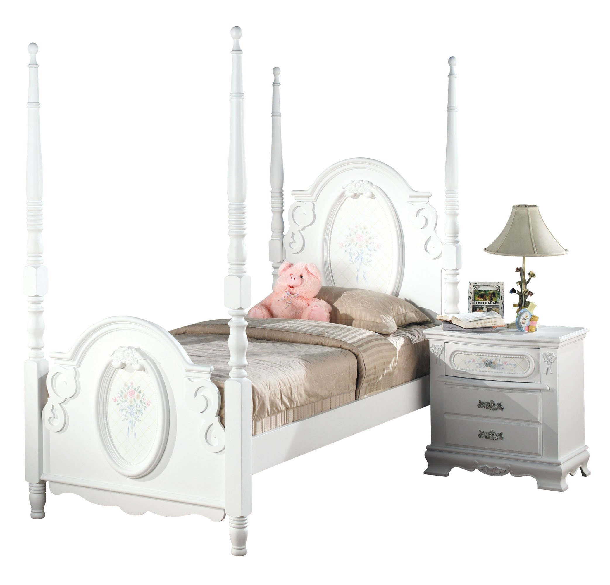 ACME 01660T Flora Post Bed, Twin, White Finish