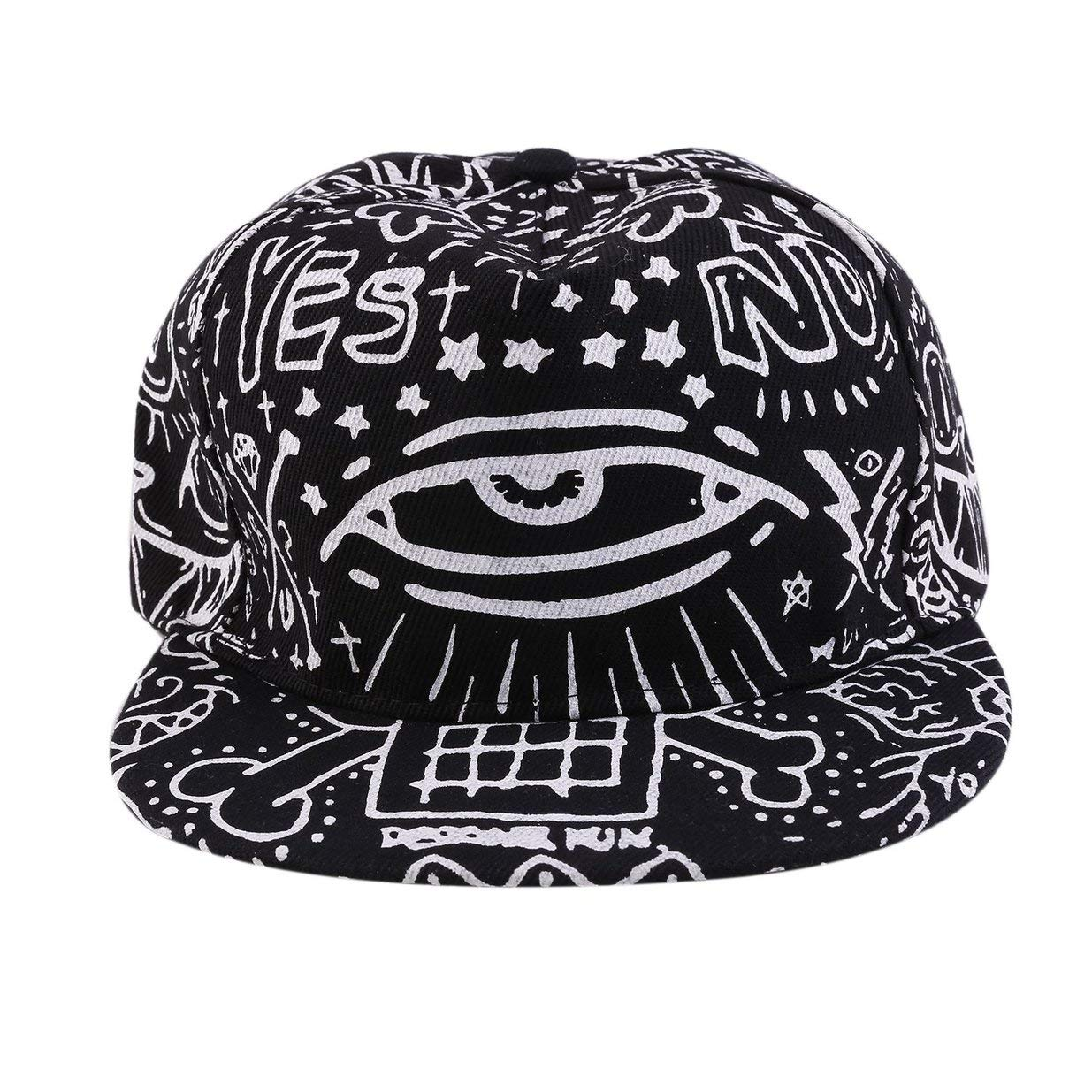 Banbie8409 Fashion Light In Dark Night Luminous Glow Snapback Baseball Hip-Hop Cap Hat-black