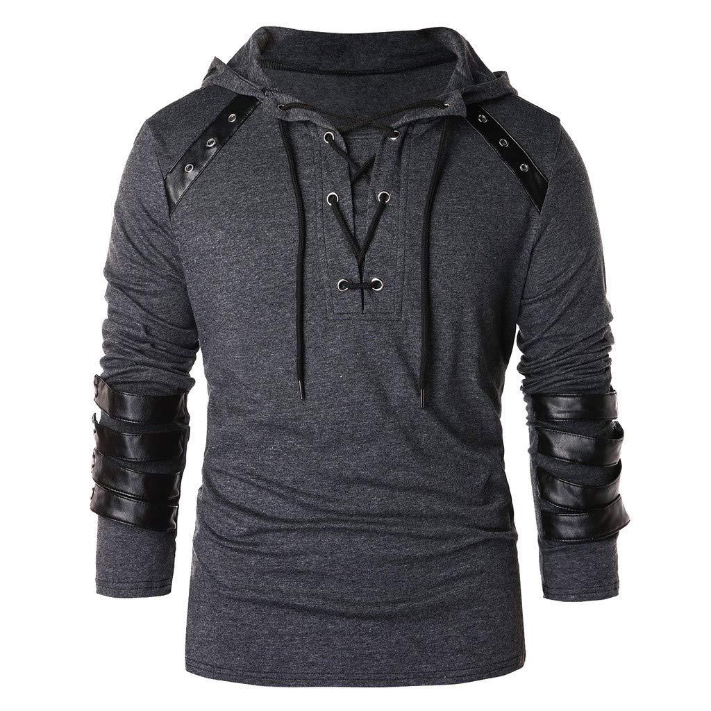 Bafaretk Men Hooded Drawstring Vintage Sweatshirt Leather Patchwork Long Sleeve Pullover Top