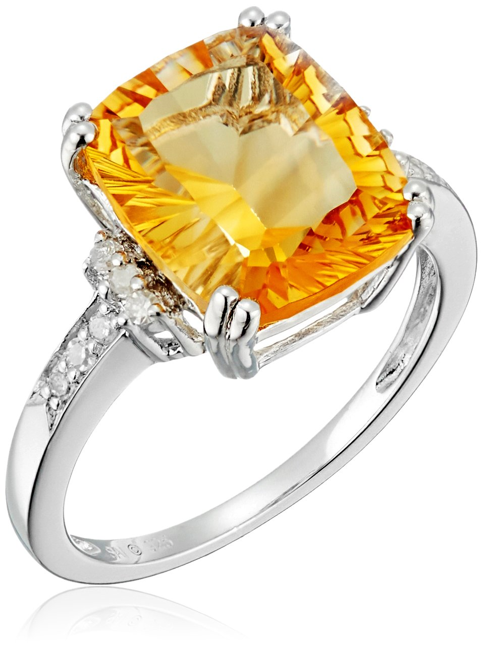 Sterling Silver Concave Cut Citrine and Diamond Cushion Ring (1/10cttw, I-J Color, I3 Clarity), Size 7