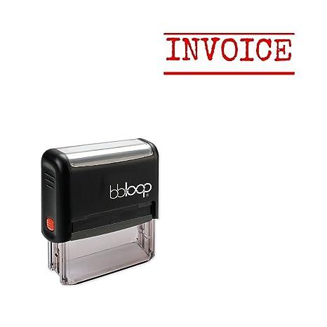 INVOICE Sello Autoentintable incluye tinta. Grabado con láser, Rectangular Typewriter Style