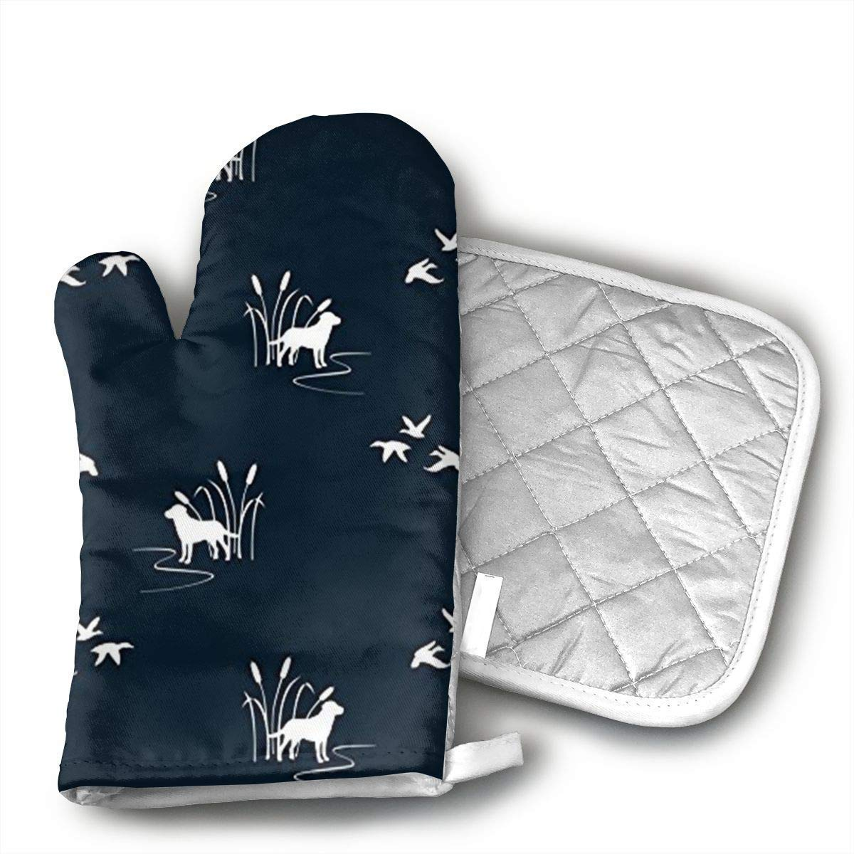 NoveltyGloves Dog Ducks Hunting Scene Oven Mitts,Professional Heat Resistant Microwave BBQ Oven Insulation Thickening Cotton Gloves Baking Pot Mitts Soft Inner Lining Kitchen Cooking