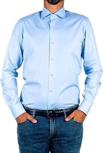 Marcus - Camisa de hombre by Delsiena celeste de algodón ...