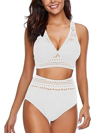 4bf5f1cf5e5 luvamia Women's Two Pieces Crochet Lace High Waist V Neck Bikini Set  Swimsuit Beige Size Small