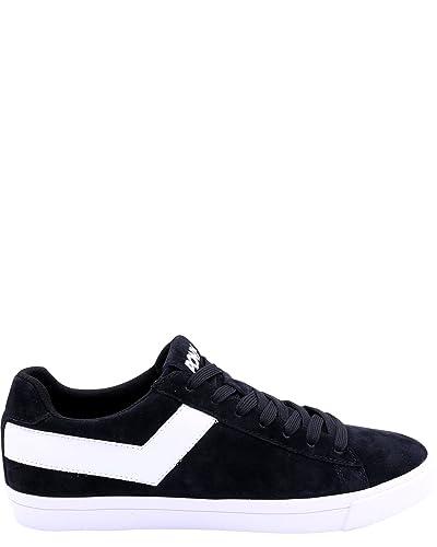 Pony Men's Topstar Low Suede Sneakers,Black/wht,9.5