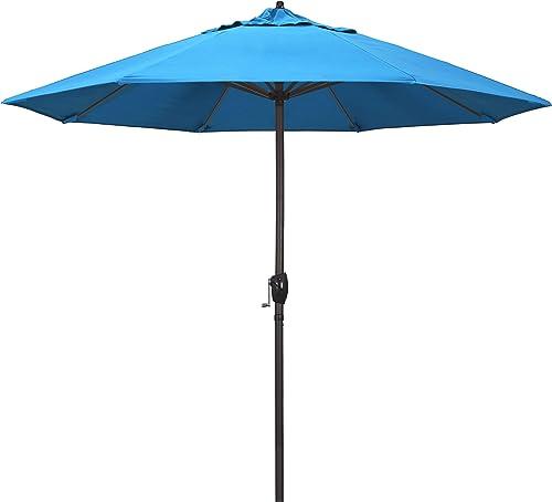 California Umbrella ATA908117-56105 9 Round Aluminum Market, Crank Lift, Auto Tilt, Bronze Pole, Sunbrella Cyan Patio Umbrella, Rd