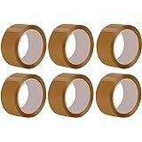 Packatape 6 Rollos de Cinta de Embalaje 48MMx 66M fragile para paquetes y cajas. Este paquete de 6 Rollos de Duradera Cinta de Embalaje Marrón Suministra un sellado Fuete, Seguro y Pegajoso para todas sus Cajas, Fiabilidad garantizada, Brown