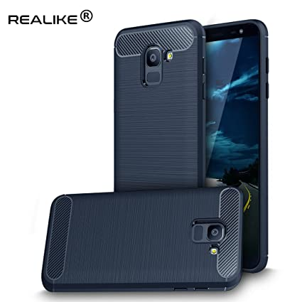 info for 565dc 38ab1 REALIKE Samsung J6 Cover, Flexible Carbon Fiber Back Cover for Samsung  Galaxy J6 / On6 (Blue)
