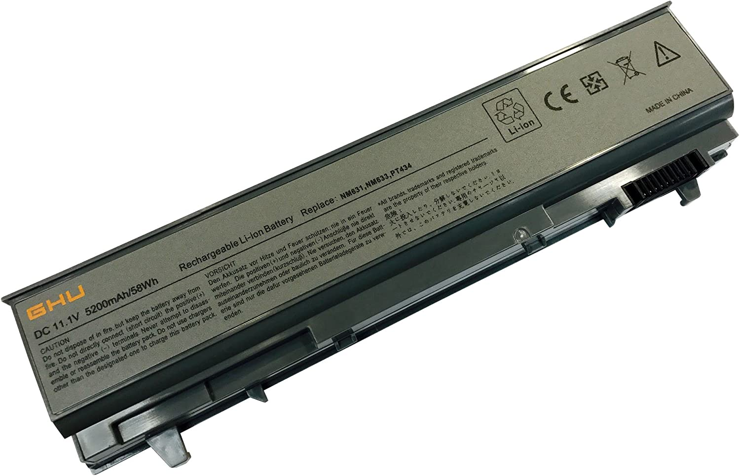 New GHU Battery 58 WHR 6-Cell 4M529 PT434 KY265 Compatible with Dell Latitude E6400 E6410 e6500 e6510 Precision m4500 m4400 Fit PN 4n369 nm631 FU444 FU441 FU571 W1193 F8TTW KY266 KY470