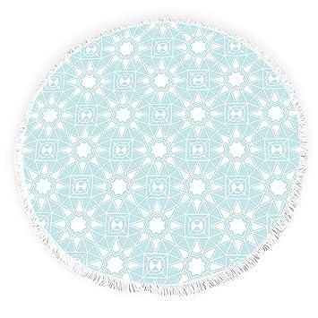 Yun Nist Toallas de playa redondas con borlas marroquíes florales arte flecos círculo grueso gitano alfombra de picnic yoga alfombra: Amazon.es: Hogar